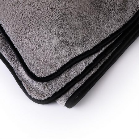 MJJC 40x100cm Grey Color Black Edged Plush Car Drying Cloth Towel