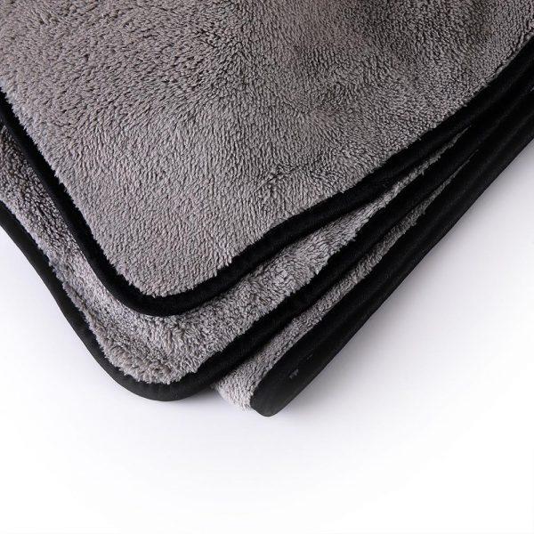 MJJC 40x100cm Grey Color Black Edged Plush Car Drying Cloth Towel