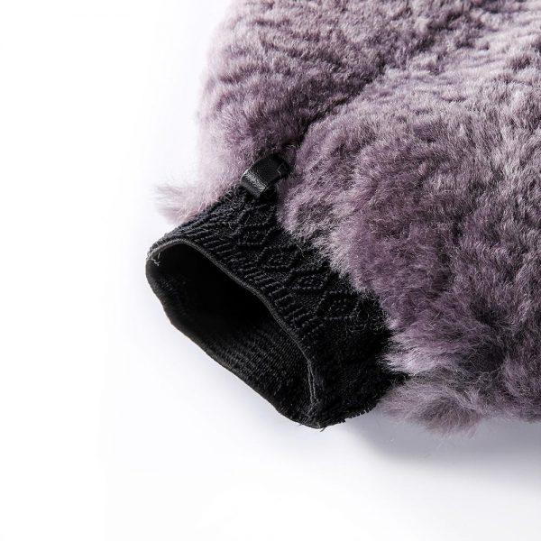 Wool Wash Mitt with Thumb Grey Color